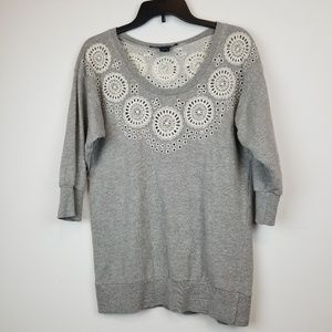French connection gray floral embroidery terry top